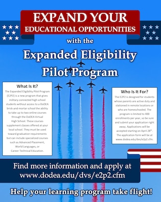 The Department of Defense Education Activity (DoDEA) is launching a new program aimed at expanding eligibility for dependents of active-duty members of the armed forces to register for the DoDEA Virtual High School (DVHS). The Expanded Eligibility Pilot Program, which will begin in school year 2021-22, was authorized as part of the 2021 National Defense Authorization Act, providing expansion of eligibility for DVHS to stateside active-duty military dependents in grades 9-12 who are currently ineligible for the DVHS.