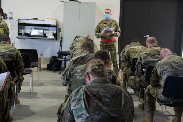 Airmen from the 174th Attack Wing, Syracuse, New York, participate in a wing readiness exercise April 10-15, 2021. This exercise prepares airmen for deployments. (U.S. Air National Guard photo by Staff Sgt. Megan Fowler)