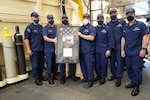 Coast Guard Cutter James wins the Excellence in Safety Award: The Coast Guard Commandant, Adm. Karl Schultz, presented the crew of the Coast Guard Cutter James, a National Security Cutter, the Excellence in Safety Award March 18, 2021. The crew of the James was honored for its quick and innovative thinking during a counter-drug patrol. During the 74 days underway, the crew devised and implemented extensive operational and personal protective procedures to keep everyone free from infection and maintain its full mission effectiveness, despite interdicting three detainees that tested positive for COVID-19. Bravo Zulu to the crew of Cutter James!