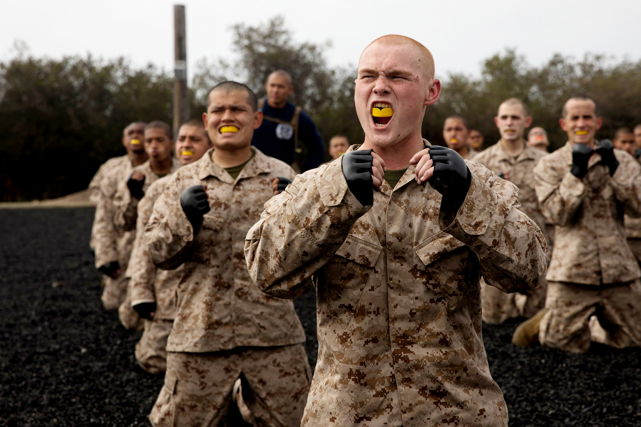 Rct. Wade G. Huddleston with Mike Company, 3rd Recruit Training Battalion, conducts a break fall during a Marine Corps Martial Arts training session at Marine Corps Recruit Depot, San Diego, April 12, 2021.