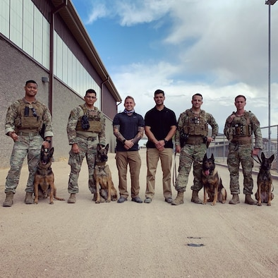 A picture of military working dog handlers and their dogs.