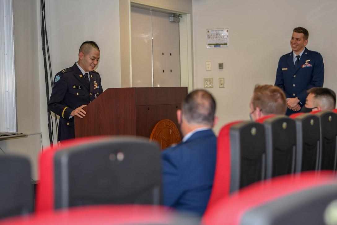 Capt. Ryosuke Taki speaks of his experience during exercise Airborne 21