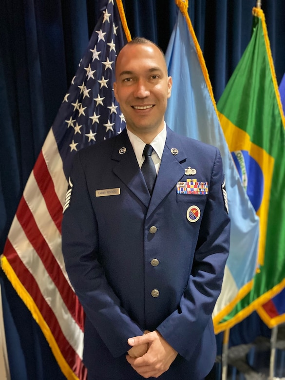 Master Sgt. Diego Ladino Restrepo poses for a photo March 26, 2021, at Joint Base San Antonio- Lackland, Texas, after being named Enlisted Professional Military Education Senior Non-commissioned Officer of the Year, Air Education and Training Command, in the 2020 EPME Awards Program. Master Sgt. Diego Ladino and IAAFA's EPME Center are now competing for the awards at the Air Force level. (U.S. Air Force photo by Vanessa R. Adame)
