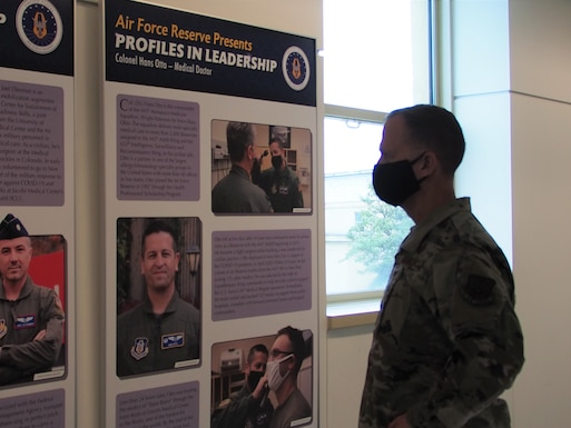 Airmen at the Pentagon head a dedication ceremony for this year's Profiles in Leadership for the Air Force Reserve Birthday April 16, 2021. Profiles in Leadership highlights exceptional Reserve Citizen Airmen each year.