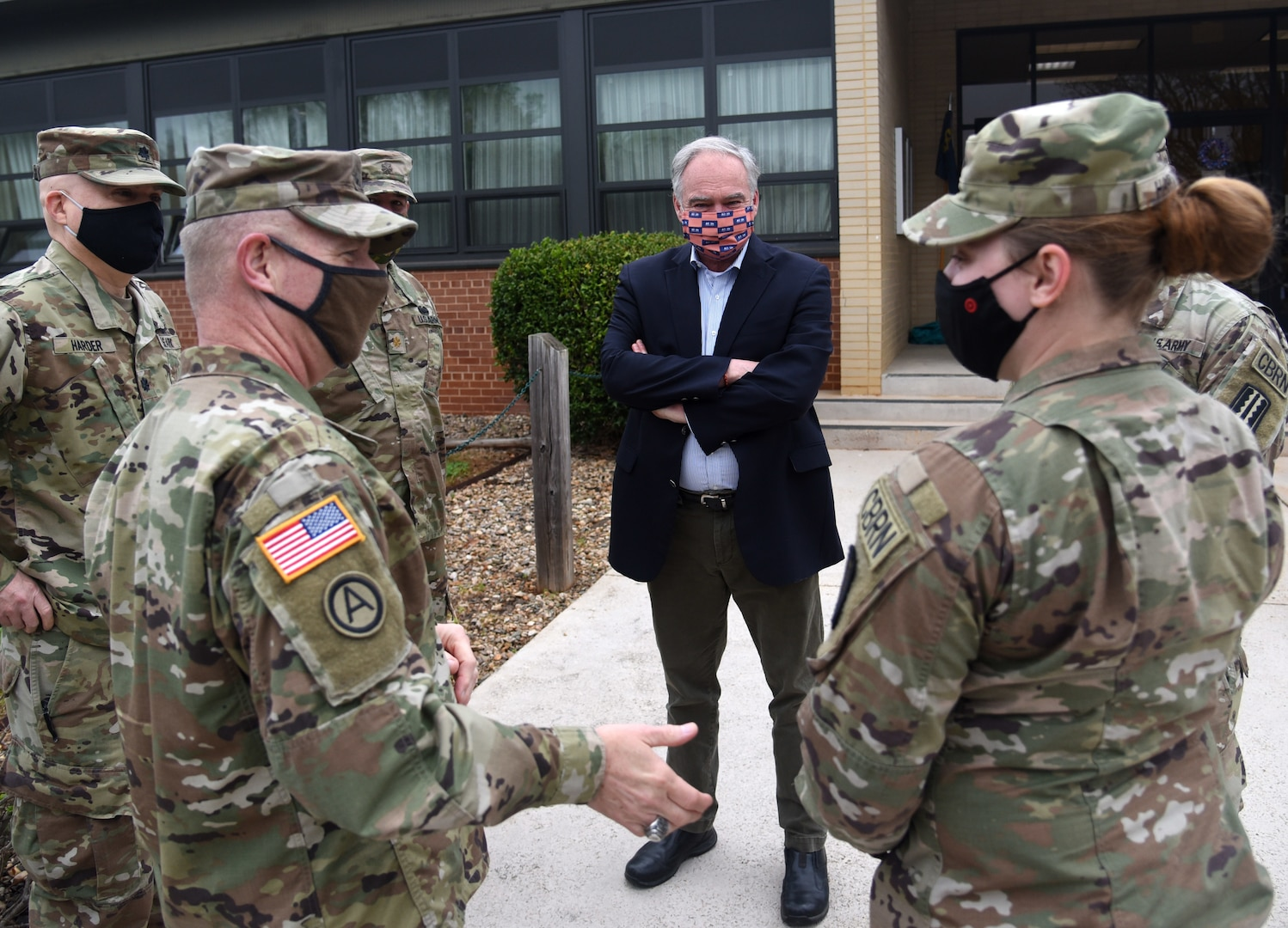 U.S. Sen. Tim Kaine visits with and thanks Virginia National Guard Soldiers assigned to the Rocky Mount-based 229th Chemical Company, 1030th Transportation Battalion, 329th Regional Support Group during a ceremony April 10, 2021, in Rocky Mount, Virginia.