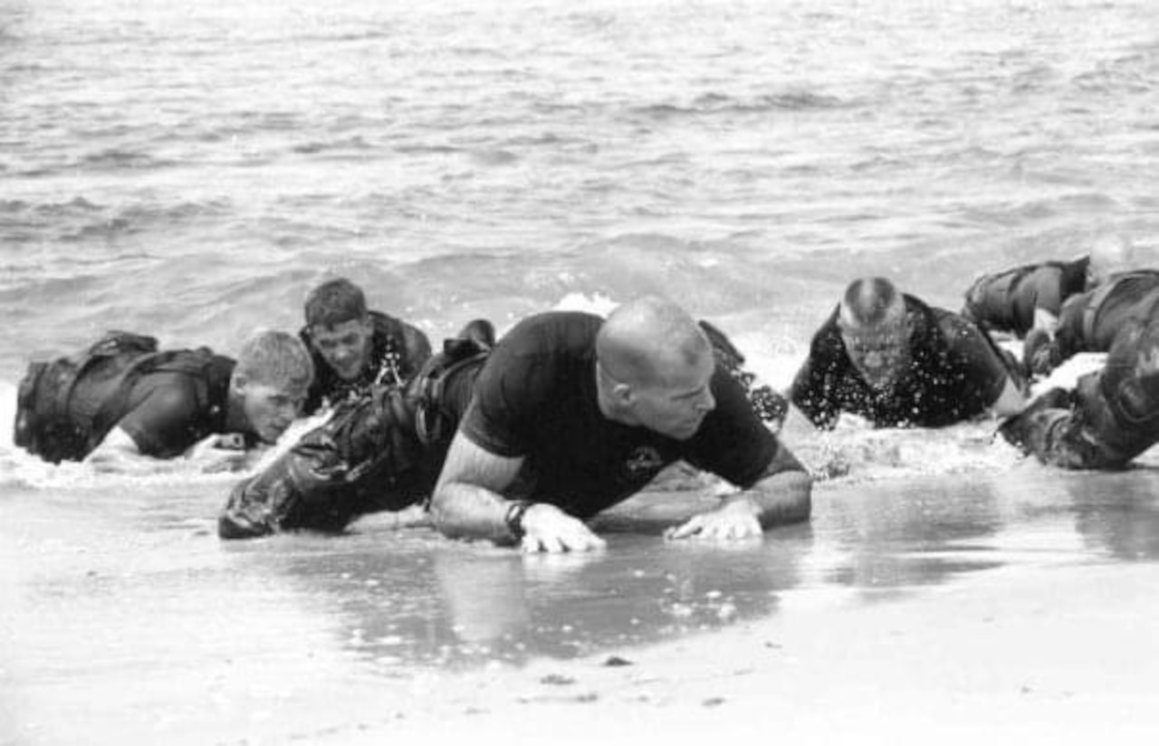 Marines crawl from the water onto a beach.