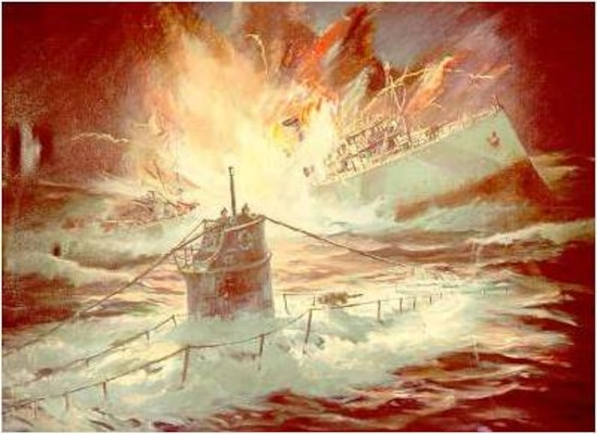 Painting of the sinking of Cutter Tampa by the German submarine UB-91 painted by noted marine artist John Wisinski. (Coast Guard Collection)