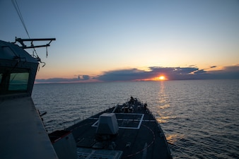 The Arleigh Burke-class guided-missile destroyer USS Roosevelt (DDG 80) sails the Aegean Sea.