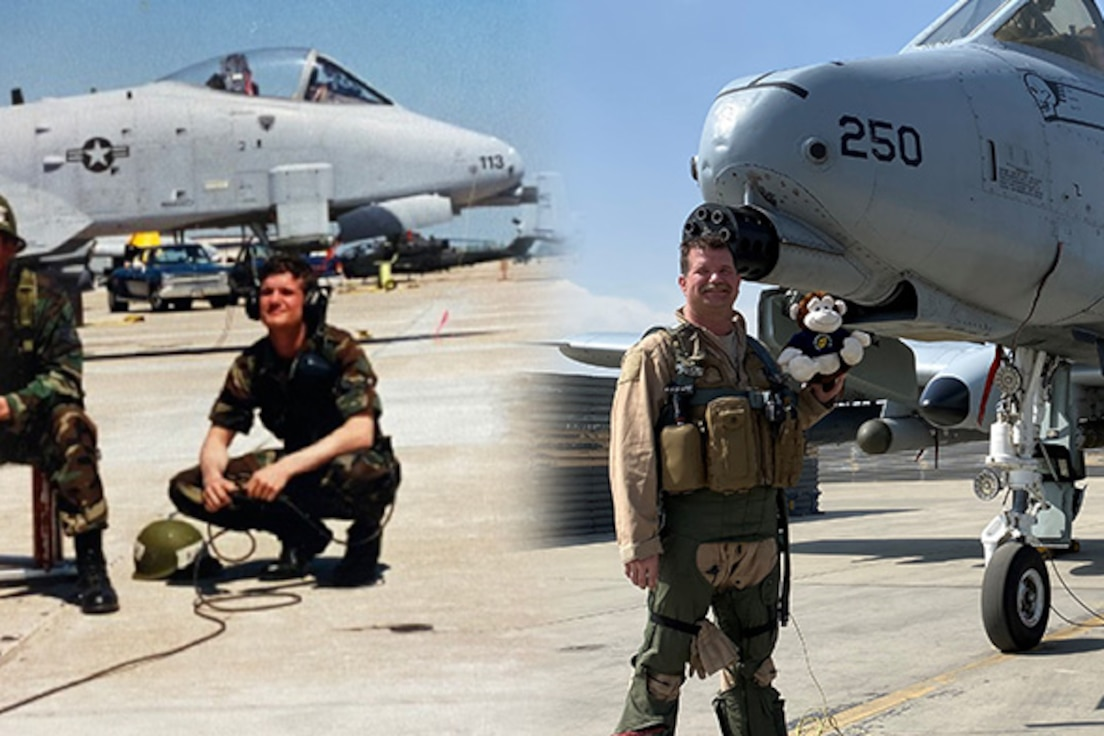 Then-Airman Brian Leiter (left), a former crew chief with the 442d Fighter Wing, kneels while launching an aircraft. Now-Lt. Col. Brian Leiter (right), an A-10 pilot still with the 442 FW, stands in front of an A-10 on deployment to Southwest Asia.