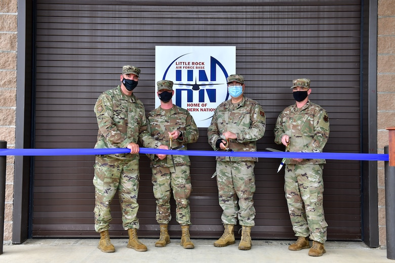 Little Rock Air Force Base leadership cut a ribbon to officially open its new innovation lab