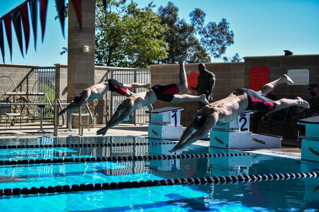 U.S. Marine Corps athletes compete in the swimming finals during the 2021 Regional Marine Corps Trials at Marine Corps Base Camp Pendleton, Calif., April 19.