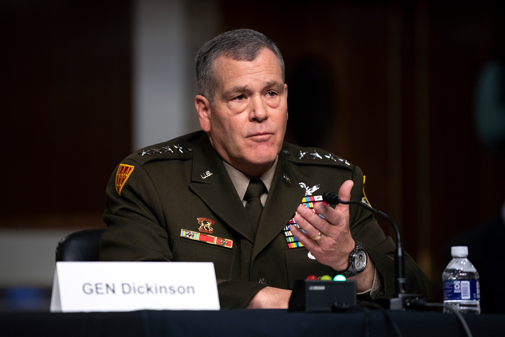 Army general speaks before Senate.