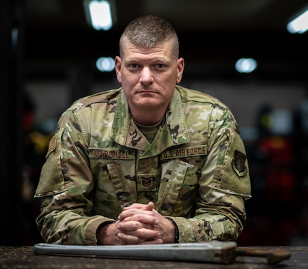 Tech. Sgt. Jeff Marshall, 932nd Civil Engineer Squadron water and fuels system craftsman, poses for portrait April 10, 2021, Scott Air Force Base, Illinois. (U.S. Air Force photo by Master Sgt. Christopher Parr)