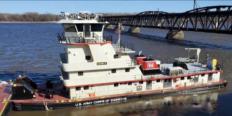 The Motor Vessel (M/V) Quincy was built in 2008 and joins five other vessels in the Mississippi River Structures Maintenance fleet located at the Mississippi River Project Office in Pleasant Valley, Iowa. Its function is to serve as the primary towing vessel for the fleet's new Quad Cities Crane barge.