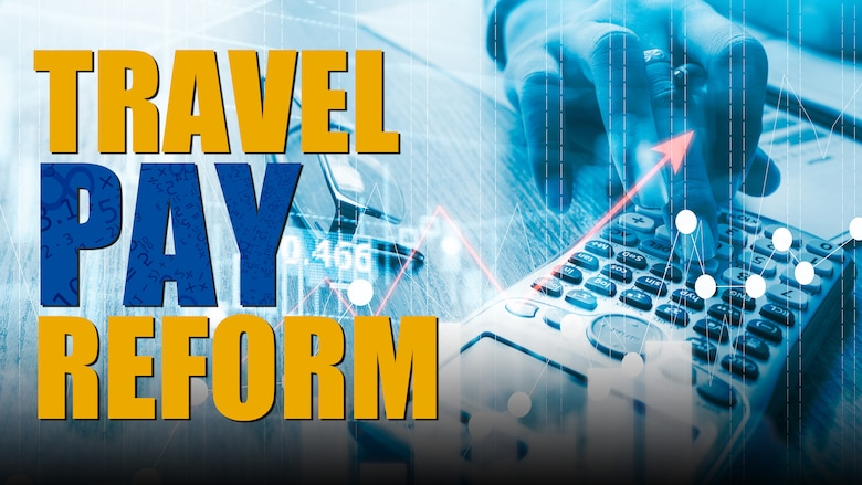 Graphic showing keyboard and stating Travel Pay Reform.