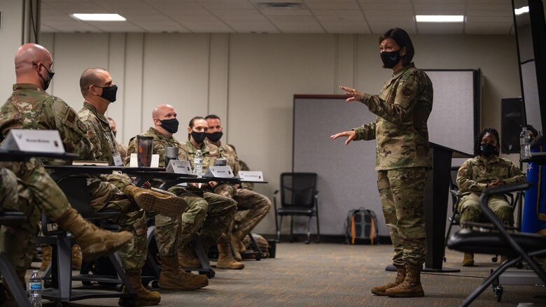 Chief Master Sergeant of the Air Force JoAnne S. Bass, addresses the crowd at Air Force Global Strike Command's chief orientation course in Bossier City, Louisiana, April 21, 2021.