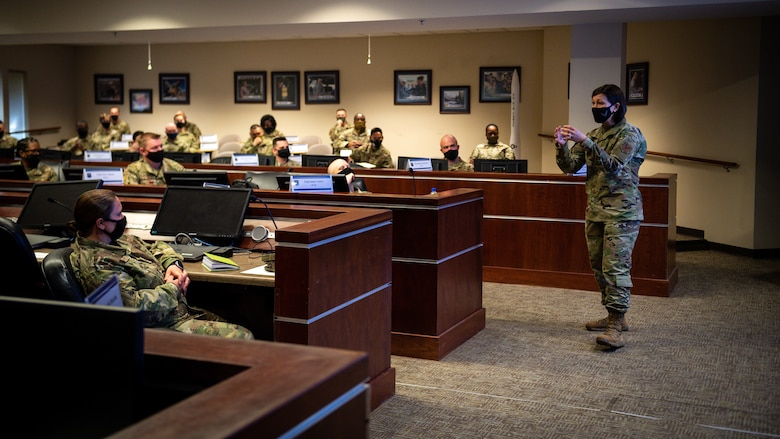 Chief Master Sergeant of the Air Force JoAnne S. Bass, addresses Air Force Global Strike Command non-commissioned officers during a tour of Barksdale Air Force Base, Louisiana, April 21, 2021.