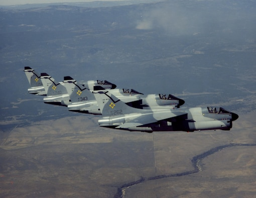 Four New Mexico Air National Guard planes fly over New Mexico for training