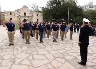 During the Virtual Navy Week held in Military City USA, Rear Adm. Theodore LeClair, of Scituate, Mass., deputy director for operations, J-3, U.S. Indo-Pacific Command, administered the oath of enlistment to future Sailors of Navy Talent Acquisition Group (NTAG) San Antonio at the Alamo.