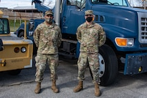 SrA Eric Steinbeiser and MSgt Nephtali Ortiz, members of the 166th Logistical Readiness Squadron's ground transportation section