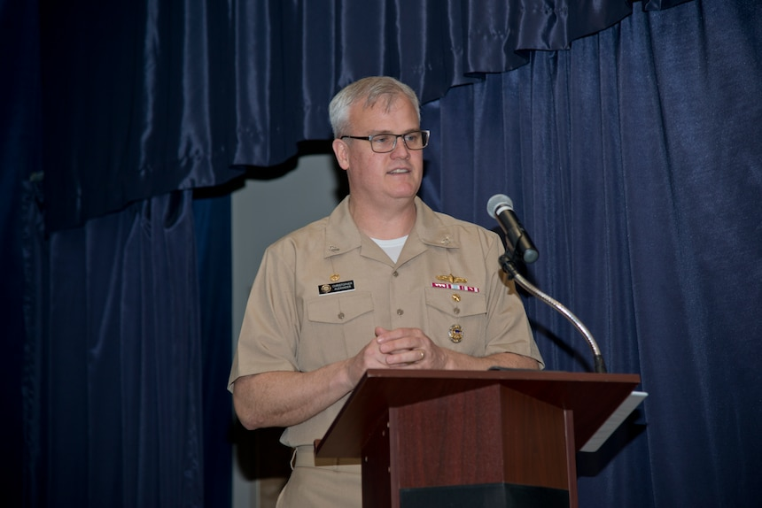 NEWPORT, R.I. (April 22, 2021) Capt. Christopher Alexander, commanding officer, Surface Warfare Schools Command (SWSC), gives a speech during the SWSC change of command ceremony at Naval Station (NAVSTA) Newport R.I., April 22, 2021. During the ceremony, Alexander was relieved by Capt. Alexis Walker as SWSC's commanding officer. (U.S. Navy photo by Mass Communication Specialist 2nd Class Derien C. Luce)