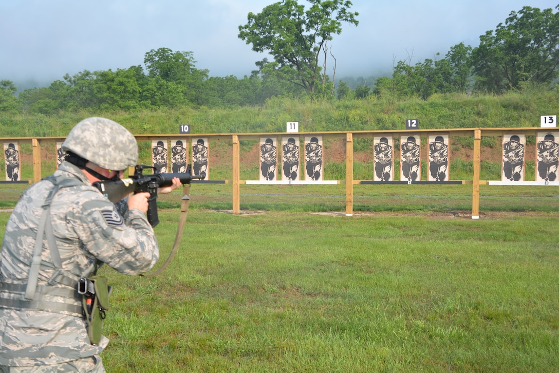 Tech. Sgt. Shawn McCreary assigned to the 171st Air Refueling Wing, Pennsylvania National Guard takes aim at the Adjutant General's Combined Arms Match June 2 at Fort Indiantown Gap Pennsylvania. (U.S. Army National Guard photo by Lt. Col. Angela King-Sweigart)