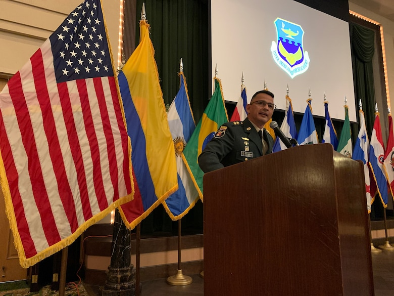 JOINT BASE SAN ANTONIO-LACKLAND, Texas --Approximately 150 members of the Inter-American Air Forces Academy and distinguished guests gathered at a graduation for nearly 60 students from partner nations and the U.S. Air Force here April 15, 2021.