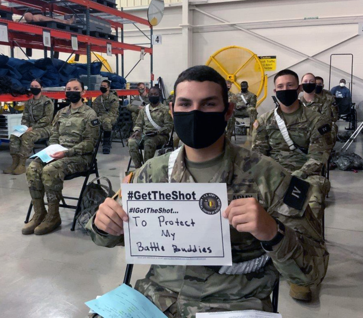 Pvt. Michael Giuffrida, a 68K medical laboratory specialist in training at the U.S. Army Medical Center of Excellence, or MEDCoE, received the first dose of the Pfizer BioNTech COVID-19 vaccine at the Brooke Army Medical Center's Joint Base San Antonio-Fort Sam Houston Vaccine site April 15.