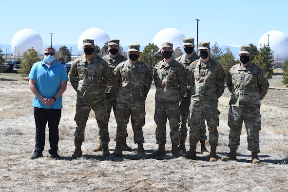 Members from the 2nd Space Warning Squadron pose for a group photo at Buckley Air Force Base on Apr. 20, 2021.