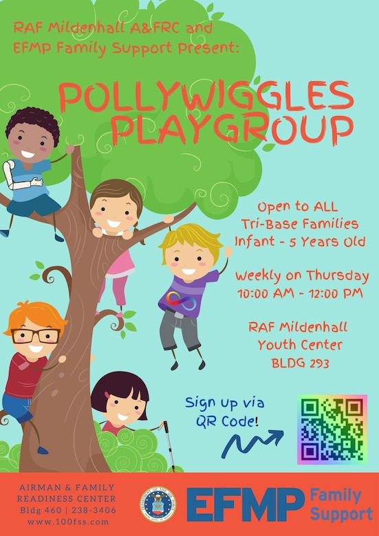 The Pollywiggles Playgroup is designed to increase readiness and resilience and provide children and their families a weekly opportunity for inclusive play. The playgroup is open to all tri-base families, infants to 5-year-olds and their caregivers. (Courtesy Graphic)