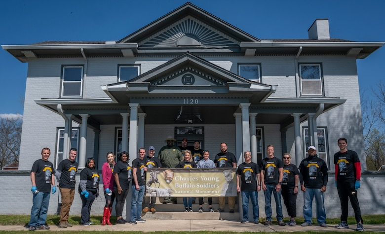 Air Force Life Cycle Management Center B-2 program office members perform maintenance work at a national historic landmark, the home of U.S. Army Colonel Charles Young, April 19, 2021, Wilberforce, Ohio.