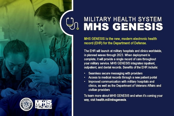 The 90th Medical Group transitions to a new electronic health record call MHS GENESIS at F.E. Warren Air Force Base, Wyoming, April 24, 2021. Appointment availability from April to June 2021 will be reduced. In preparation for the transition please register for the new patient portal at www.patientportal.mhsgenesis.health.mil. (Department of Defense graphic)