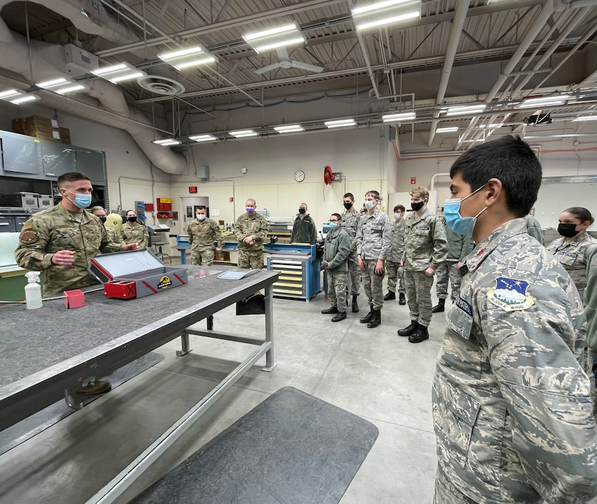 During the 168th Wing April unit training assembly, local Civil Air Patrol Cadets from Fairbanks, Eielson, Delta, and Tok, had the chance to see the wing's mission and hear from Airmen firsthand. (U.S. Air National Guard photo by Senior Master Sgt. Julie Avey)