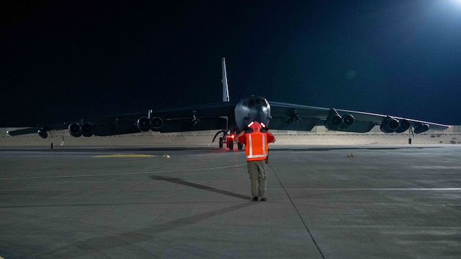 A B-52H Stratofortress assigned to the 5th Bomb Wing, Minot Air Force Base, N.D., taxis on the flightline April 23, 2021, at Al Udeid Air Base, Qatar. The B-52 aircraft are deployed to Al Udeid AB to protect U.S. and coalition forces as they conduct drawdown operations from Afghanistan. (U.S. Air Force photo by Staff Sgt. Greg Erwin)