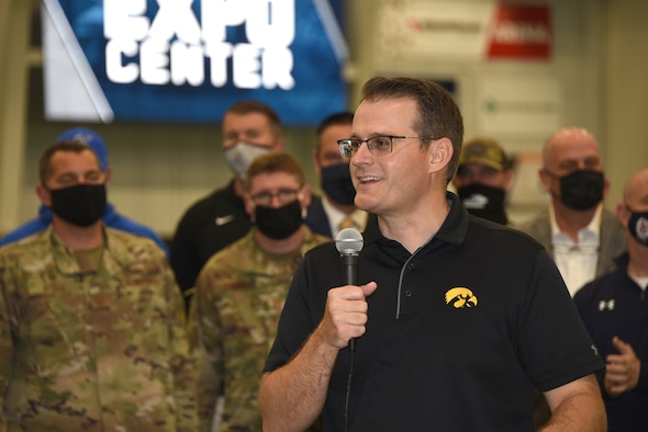 Iowa Lt. Gov. Adam Gregg receives a COVID-19 vaccination at vaccination clinic held at the Siouxland Expo Center in Sioux City, Iowa on April 23, 2021.
