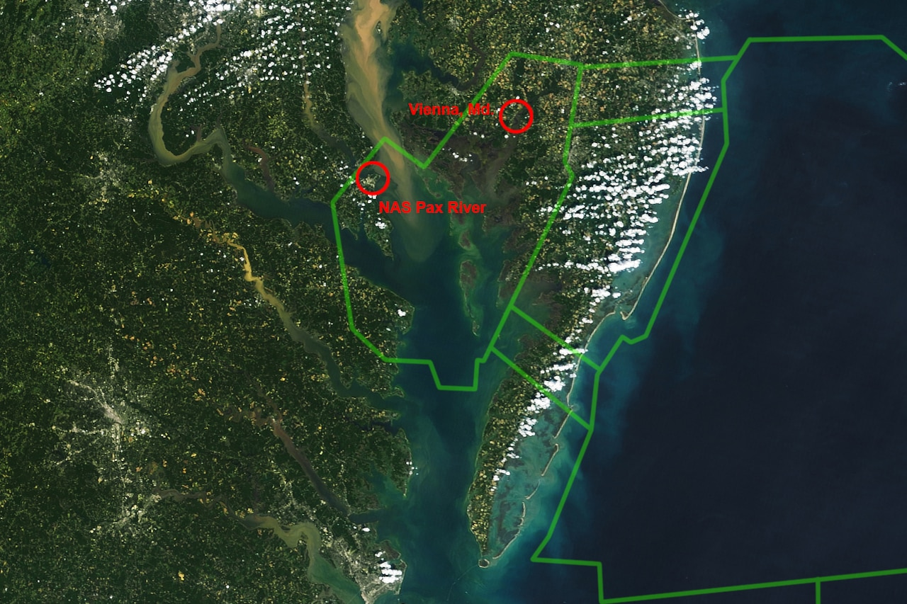 A satellite image shows the Chesapeake Bay region.