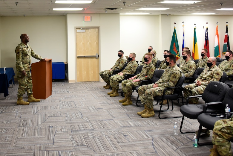 Brig. Gen. Kenyon Bell, 82nd Training Wing commander, speaks during an Aircraft Maintenance Officers Course graduation ceremony at Sheppard Air Force Base, Texas, April 22, 2021.