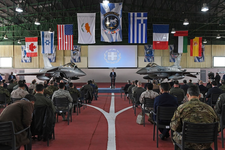 Prime Minister of Greece Kyriakos Mitsotakis, speaks to key defense leaders in the region during INIOCHOS 21 at Andravida Air Base, Greece, April 20, 2021. Along with Greek and U.S. participants, Canada, Cyprus, Israel, Slovenia, Spain and the United Arab Emirates are also supporting the exercise. The interoperability during this exercise allows various allies the opportunity to not only work together, but also the ability to learn from each other. (U.S. Air Force photo by Staff Sgt. Valerie Halbert)