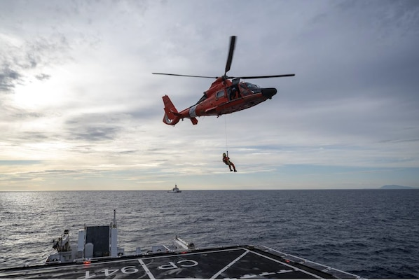 USCGC Hamilton (WMSL 753) and ITCG Ubaldo Diciotti (CP-941) conducted simulated search and rescue exercises and helicopter hoist operations in the Mediterranean Sea, April 23, 2021. U.S. Coast Guard Cutter Hamilton is on a routine deployment in the U.S. Sixth Fleet area of operations in support of U.S. national interests and security in Europe and Africa.