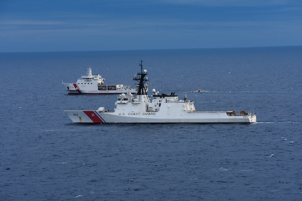 USCGC Hamilton (WMSL 753) and ITCG Ubaldo Diciotti (CP-941) conducted simulated search and rescue exercises and helicopter hoist operations in the Mediterranean Sea, April 23, 2021. Hamilton is on a routine deployment in the U.S. Sixth Fleet area of operations in support of U.S. national interests and security in Europe and Africa.