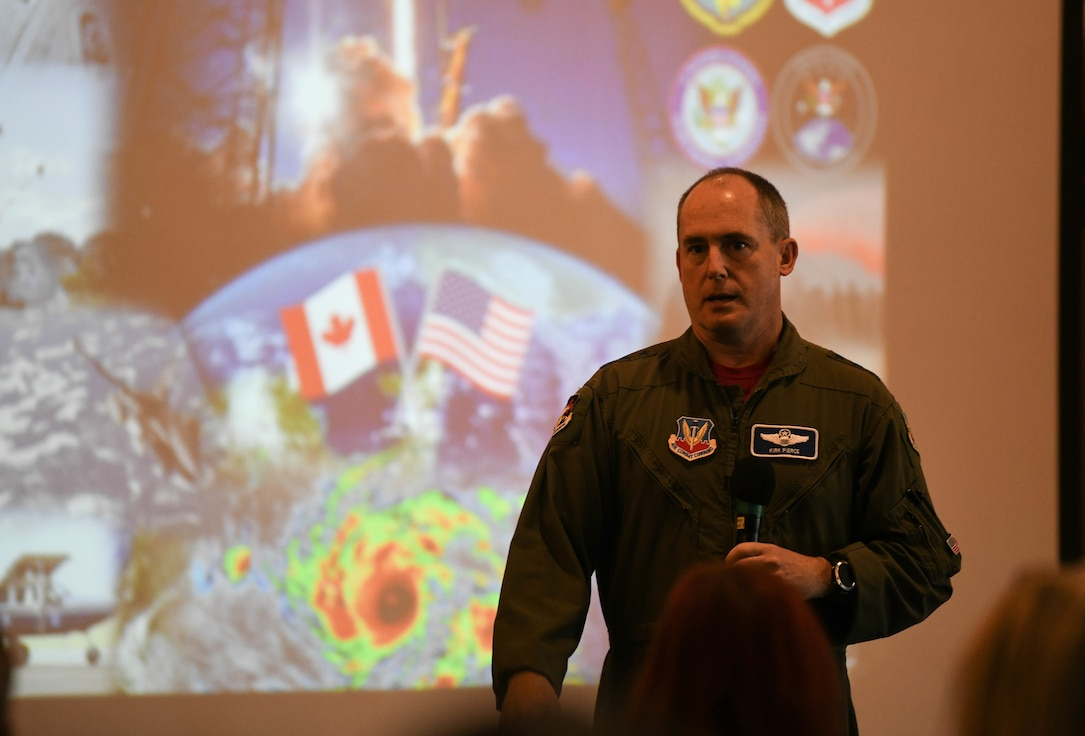 U.S. Air Force Lt. Gen. Kirk Pierce addressing the state of Tyndall AFB