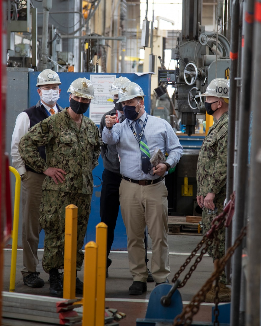 Vice Adm. Bill Galinis, Commander, Naval Sea Systems Command, visited Puget Sound Naval Shipyard & Intermediate Maintenance Facility, April 23, 2021.