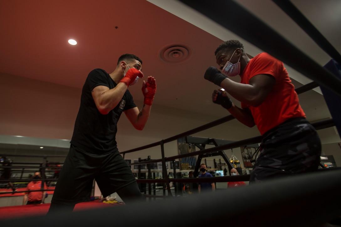 U.S. Marine Corps boxers practice fighting techniques on Marine Corps Base Camp Lejeune, N.C., April 20.