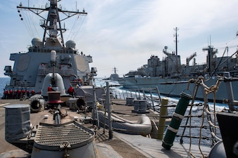USS Laboon (DDG 58) conducts a replenishment-at-sea with USNS Arctic (T-AOE 8) in the Arabian Sea.