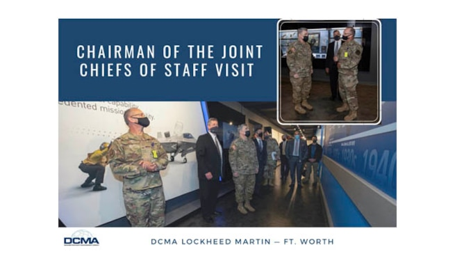 Graphic containing photo of several military and civilian men visiting DCMA Lockheed Martin Fort Worth.