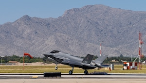 A Royal Danish Air Force F-35A Lightning II assigned to the 308th Fighter Squadron lands, April 13, 2021, at Luke Air Force Base, Arizona.
