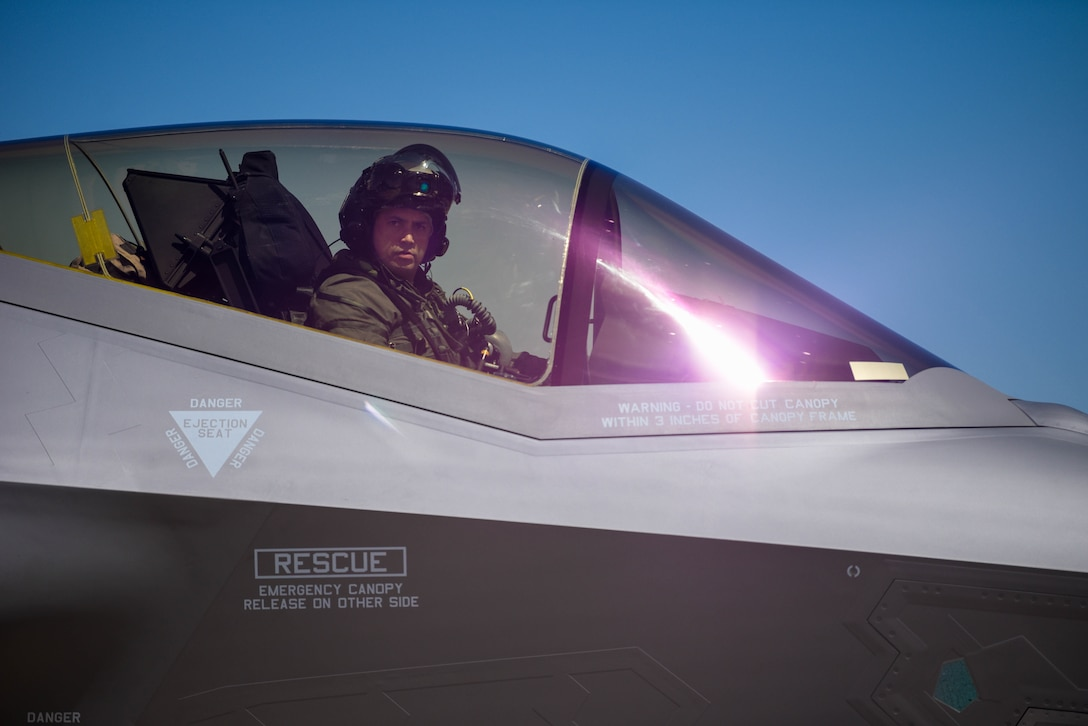 """Royal Danish Air Force Lt. Col. Joseph """"KOBI"""" Drummond, 308th Fighter Squadron chief of flight operations, taxis a RDAF F-35A Lightning II April 13, 2021, at Luke Air Force Base, Arizona."""