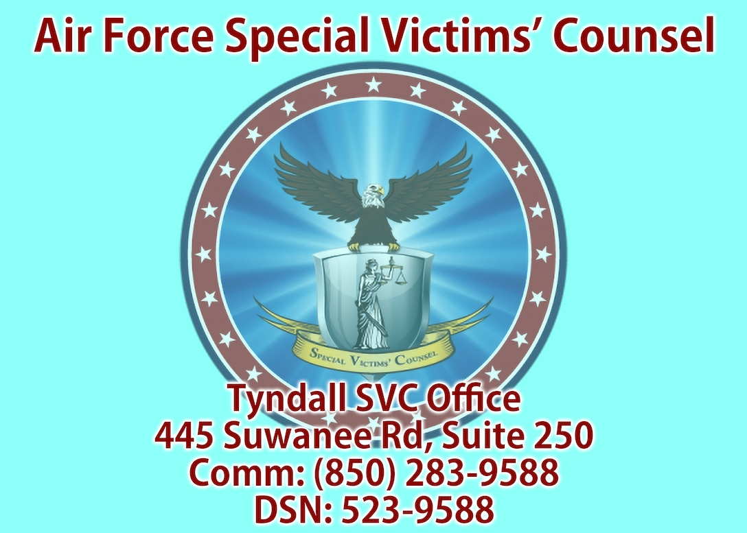 A graphic showing the contact information and address for Tyndall's Special Victims' Counsel. (U.S. Air Force graphic by Staff Sgt. Stefan Alvarez)
