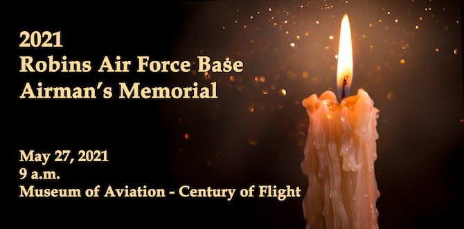 Graphic shows information for Airman's Memorial next to a candle flame.