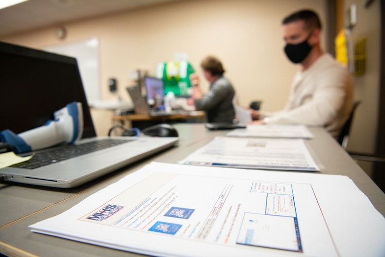 Healthcare workers from the 28th Medical Group prepare to go-live with a new electronic healthcare record system at Ellsworth Air Force Base, S.D., April 24, 2021.